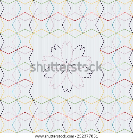Traditional Japanese Embroidery Ornament with sakura flower. Colorful Sashiko motif - Seven Treasures of Buddha (Shippo). Abstract vector backdrop. Needlework texture. Can be used as seamless pattern. - stock vector