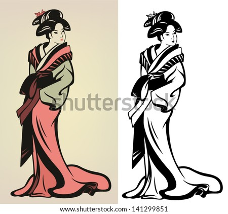 traditional japanese geisha vector illustration - in color and black and white outline - stock vector