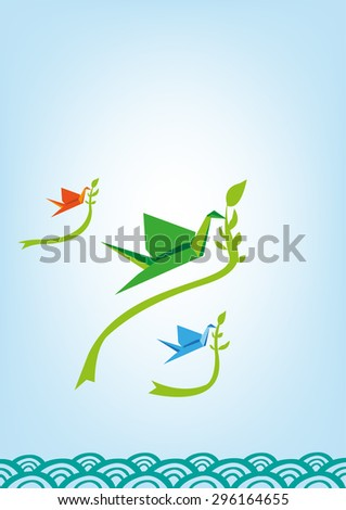 Traditional Japanese Memorial Peace Origami Cranes Flying with leaves over oriental waves vertical. Editable Vector. - stock vector