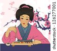 Traditional japanese pretty girl enjoy sushi. Vector illustration. Menu template - stock photo