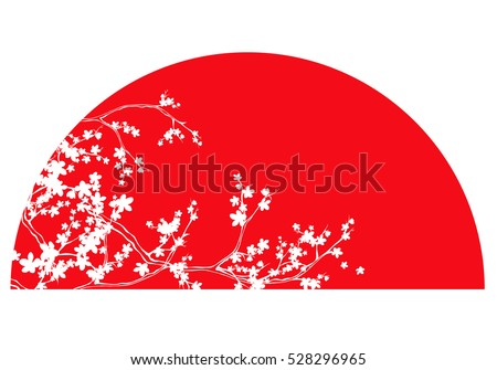 traditional japanese red sun and white sakura branches vector design.