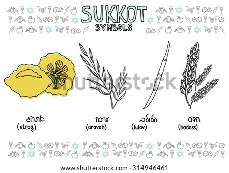Traditional Jewish Holiday Sukkot. Hand drawn Sukkot symbols. Four species - etrog, willow, palm, myrtle. Vector doodle illustration with Jewish topic pattern and Israel flag.  - stock vector