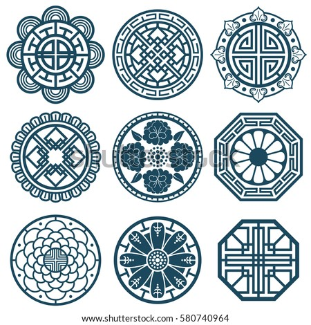 Traditional Korean Symbols Vector Korea Pattern Stock