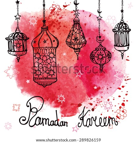 Traditional lantern of Ramadan Kareem. Doodle greeting card with Watercolor red splash. Muslim community. Hand drawing hanging arabic lamp, star and moon  background. Vector