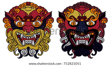 Traditional Lion Face Tattoo Chinese Lion Face Stock Vector