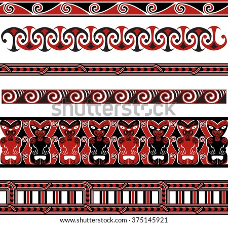 Traditional Maori Vector Borders and Patterns - stock vector