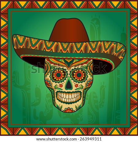 Traditional mexican scull with sombrero. Vector skull in mexican hat. Mexican ornament - stock vector