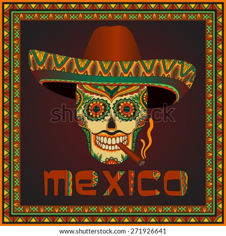 Traditional mexican skull with sombrero. Vector scull in mexican hat with cigar. Mexican ornament - stock vector