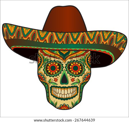 Traditional mexican skull with sombrero. Vector skull in mexican hat. Mexican ornament - stock vector