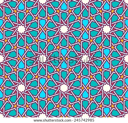 Traditional moorish tangled pattern. Seamless vector background. Plain colors - easy to recolor. - stock vector