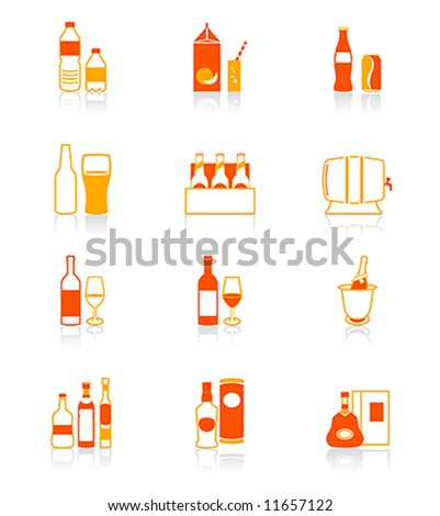 Traditional non- and alcoholic drinks vector icon set in red-orange - stock vector