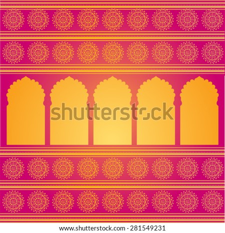 Traditional oriental golden temple gates pattern on pink background with Indian henna mandala borders - stock vector