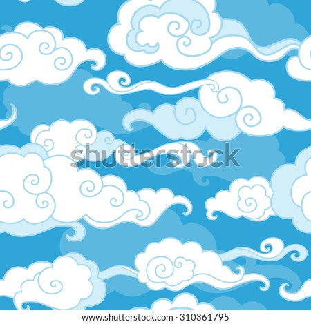 Traditional oriental ornament. Clouds on blue sky. Vector seamless pattern - stock vector