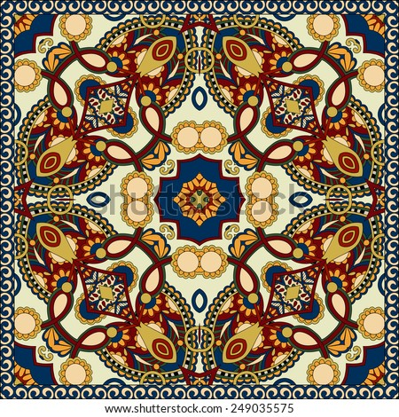 Traditional ornamental floral paisley bandanna. Square ornament. You can use this pattern in the design of carpet, shawl, pillow, cushion, beige colour - stock vector