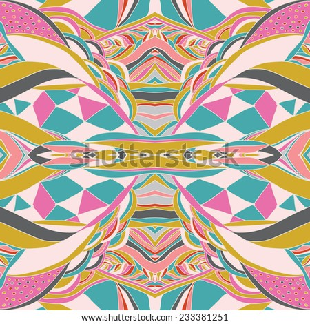 Traditional ornamental paisley bandanna. Hand drawn colorful aztec pattern with artistic pattern. Pastel colors. Seamless pattern can be used for wallpaper, pattern fills, web page background,. - stock vector