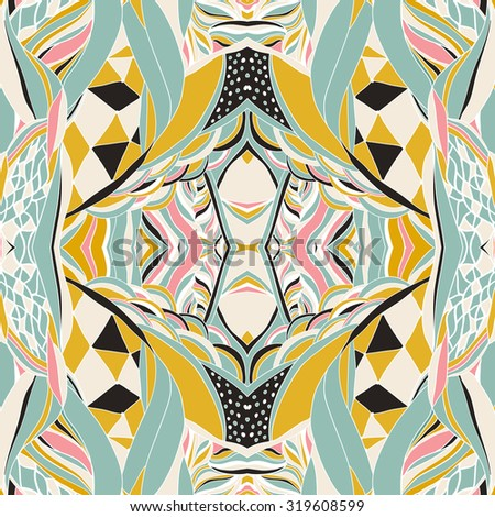 Traditional ornamental paisley bandanna. Hand drawn colorful aztec pattern with artistic pattern. Seamless pattern can be used for wallpaper, pattern fills, web page background, surface textures. - stock vector