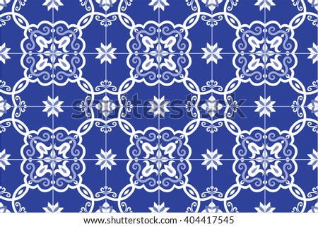Traditional ornate portuguese and brazilian tiles azulejos in blue. Spanish talavera tiles. Vintage pattern. Abstract background. Vector illustration, eps10.