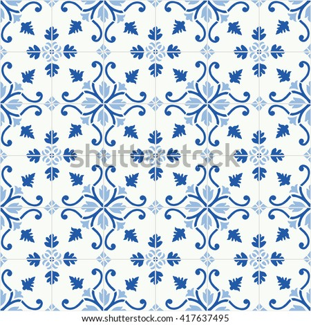 Traditional ornate portuguese tiles azulejos. Vintage seamless pattern. Abstract background. Vector illustration - stock vector