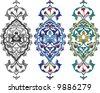 Traditional ottoman carnation tile design - stock vector
