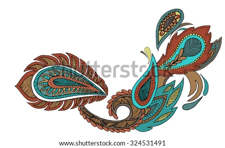 Traditional paisley pattern. Vintage background. Decorative ornament backdrop for fabric, textile, wrapping paper, card, invitation, wallpaper, web design. Element isolated on white background. - stock vector