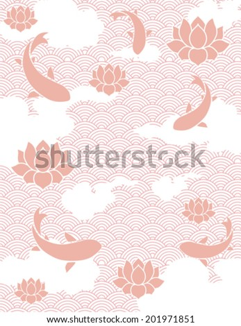 Traditional pink Japanese fish pond background - stock vector