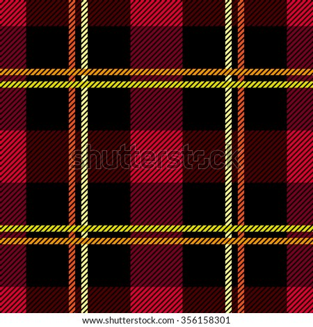 Traditional plaid seamless checkered vector pattern. Retro textile collection. Red and black. Backgrounds & textures shop. - stock vector