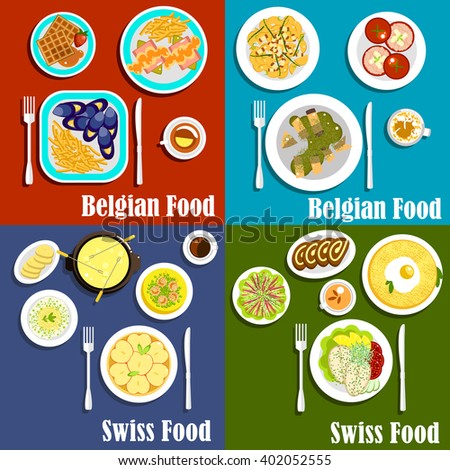 Traditional potato, seafood and cheese dishes of swiss and belgian cuisine with popular desserts such as waffles, chocolate swiss rolls and apple tart, served with coffee and tea drinks - stock vector