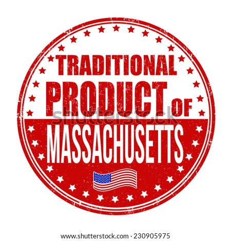 Traditional product of Massachusetts grunge rubber stamp on white background, vector illustration - stock vector