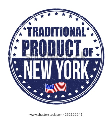 Traditional product of New York grunge rubber stamp on white background, vector illustration - stock vector