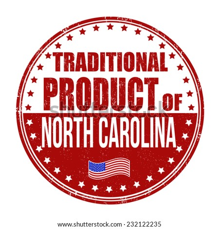 Traditional product of North Carolina grunge rubber stamp on white background, vector illustration - stock vector