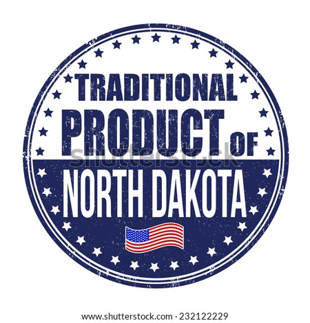 Traditional product of North Dakota grunge rubber stamp on white background, vector illustration - stock vector