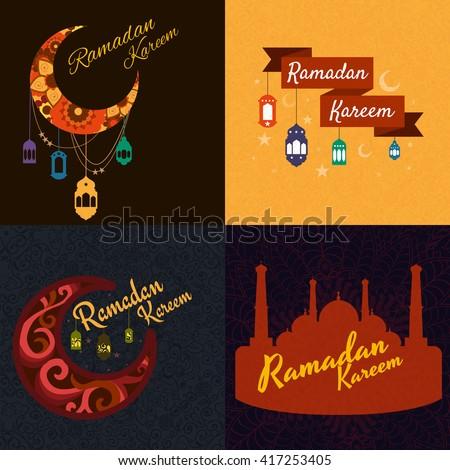 traditional ramadan kareem month celebration greeting card design, holy muslim culture, islamic religion mubarak eid background, islam holiday ramazan vector illustration - stock vector