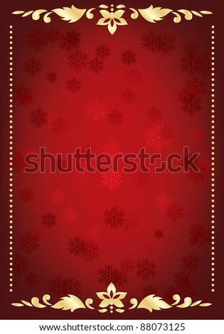 traditional red and gold christmas frame with copy space - stock vector