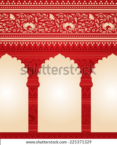 Traditional red Indian floral temple background - stock vector