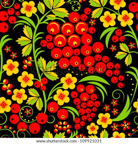 Traditional russian Hohloma style seamless pattern. Vector illustration.