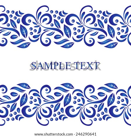 Traditional Russian vector seamless pattern frame in gzhel style. Can be used for banner, card, poster, invitation, label, menu, page decoration or web design - stock vector