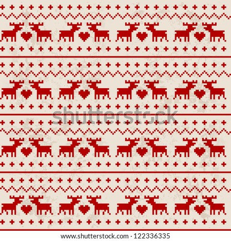 Traditional seamless deer pattern with red heart - stock vector