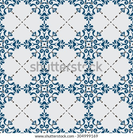 Traditional seamless pattern with Victorian motives, TILE , blue design - stock vector