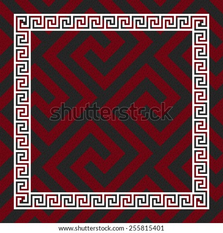 Traditional  seamless vintage red, black and white square Greek ornament (Meander)  - stock vector
