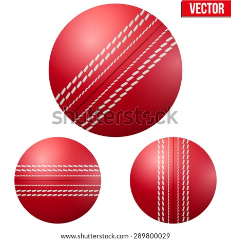 Traditional shiny red cricket ball. Vector Illustration on isolated white background. - stock vector