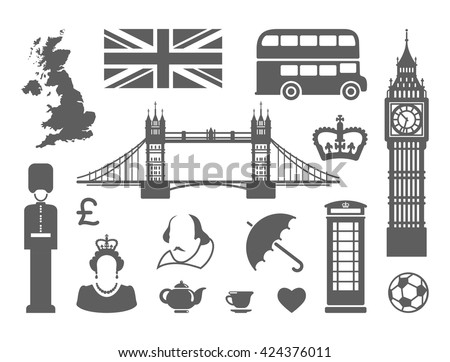 Traditional symbols of architecture and culture of the united Kingdom - stock vector