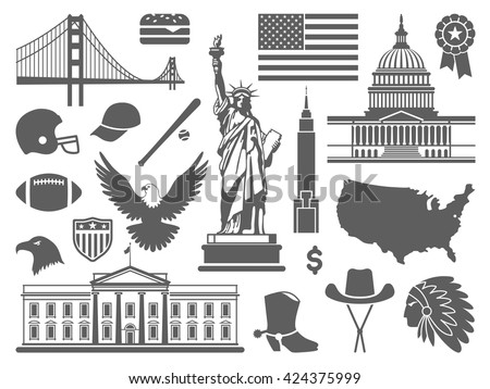 Traditional symbols of architecture and culture of the USA - stock vector