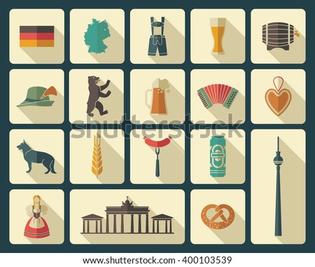 Traditional symbols of culture, architecture and cuisine of Germany - stock vector