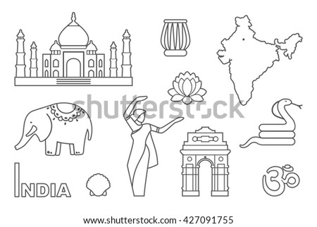 Traditional symbols of India. Simple contour icons - stock vector