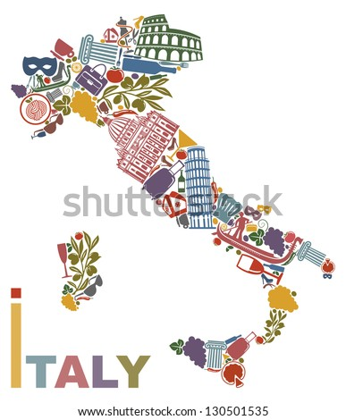 Traditional symbols of Italy in the form of a map - stock vector
