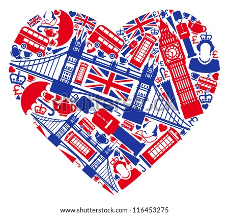 Traditional symbols of London and England in the form of heart - stock vector