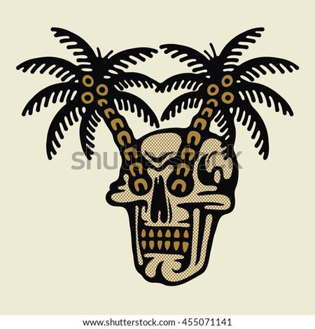 Traditional Tattoo Flash Skull With A Palms Vector Illustration On Grunge Texture Background