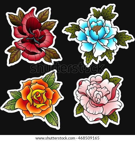 traditional tattoo style roses set stock vector 406652239 shutterstock. Black Bedroom Furniture Sets. Home Design Ideas