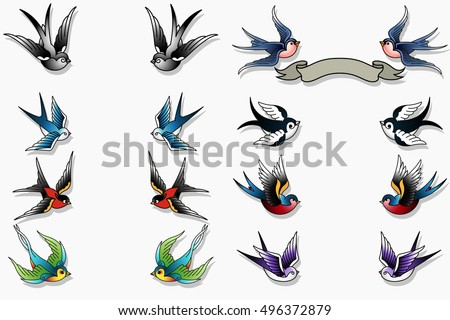 sparrow tattoo stock images royalty free images vectors shutterstock. Black Bedroom Furniture Sets. Home Design Ideas