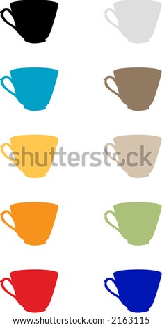 Traditional Teacup set - Fully editable vector drawing - stock vector